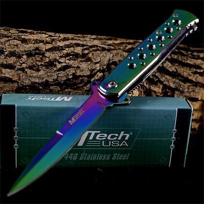M-TECH TACTICAL RAINBOW Combat Pocket Folding SPRING ASSIST OPEN STILETTO KNIFE