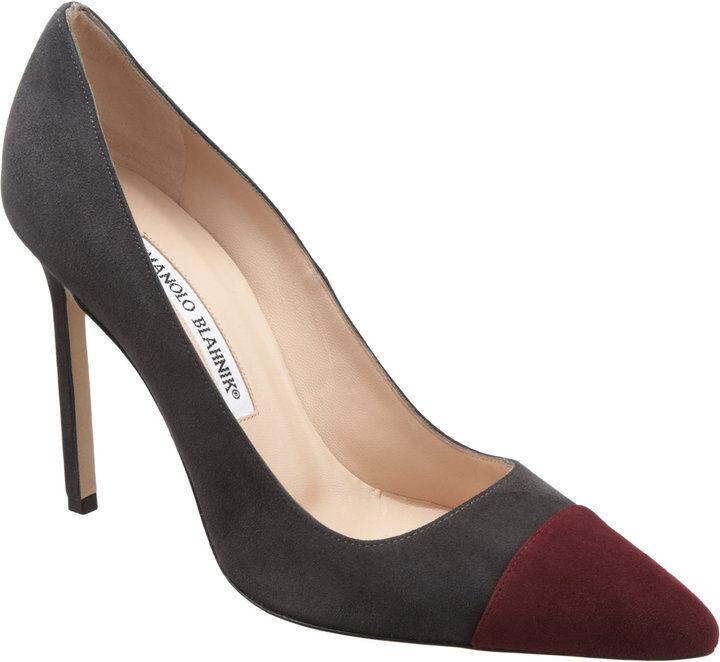 New Manolo Blahnik BB BIPUNTA 105 Grey Bordeau Burgundy Suede Shoes Pumps 40.5