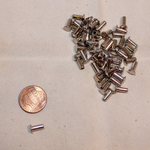"""Small 5//16/"""" Tubular Rivets F203 Pack of 300 Nickel Plated"""