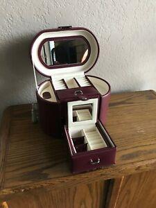 Jared Travel Jewelry Box 5 X 6 X 8 New Burgundy Box With Mirror And 2 Drawers Ebay