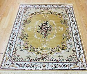 Traditional-Rug-Gold-Silk-Like-Machine-Washable-Living-Room-BedRoom-Carpet-Rugs
