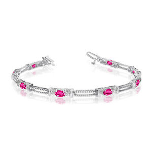 10k-White-Gold-Natural-Pink-Topaz-And-Diamond-Tennis-Bracelet
