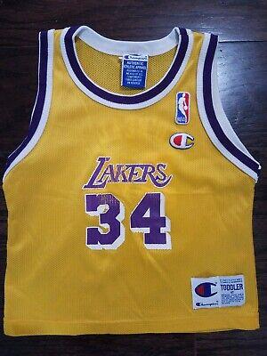 Shaq O'Neal LA Lakers Champion Vintage Toddler Jersey Yellow Boys Kobe Size 4T | eBay