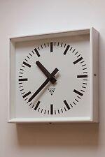 Vintage industrial 70s factory wall clock PRAGOTRON, refurbished AA battery
