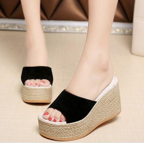 New women/'s platform wedge espadrilles mules slip on sandals high heel shoes