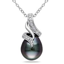 Sterling Silver Diamond 9-10 mm Black Tahitian Pearl Swirled Pendant Necklace 18