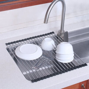 Details about Dish Drying Rack Over-The-Sink Folding Dish Drainer for  Kitchen Use Drying Mat