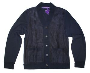 Ralph-Lauren-Purple-Label-Mens-Navy-Suede-Leather-Cardigan-Button-Sweater-Jacket