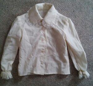 000-Vintage-Childs-Long-Sleeve-Lace-Collar-amp-Cuffs-Dress-Shirt