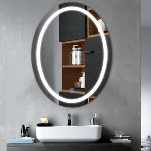 Oval Led Bathroom Wall Mount Mirror Illuminated Light Vanity Mirror
