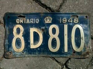 Vintage 1948 Ontario ON Canada Vehicle License Plate Blue White  ~ POOR 8d810