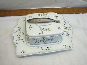 Vintage Mehun France C.P. & Co Sardine Covered Dish Fish Handle Kippers
