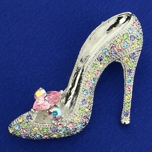 f6fe84f0fc6 Shoe W Swarovski Crystal Multi Color Slippers High Heel Shoes Brooch ...