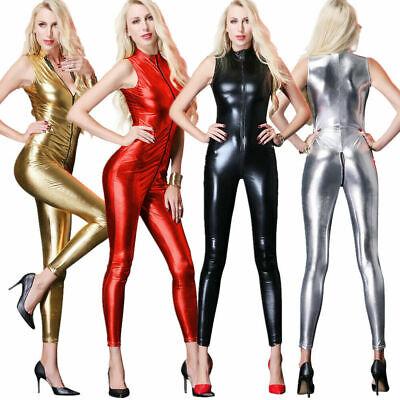 Damen Jumpsuit Reißverschluß Kurzarm Catsuit Wetlook Bodysuit Overall Kunstleder