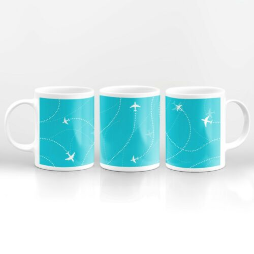 Blue Pattern Airplane Drinks Mug Cup Kitchen Birthday Office Fun Gift #12360
