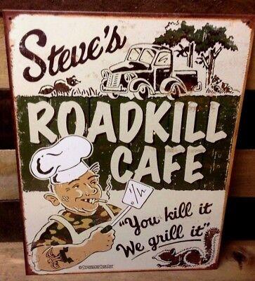 Roadkill Cafe Funny Retro Metal Tin Ad Sign Restaurant Kitchen Bar