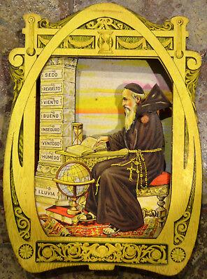 Calendario Frate Indovino Ebay.Vecchio Barometro Lingua Spagnola Meccanico Frate Monaco Cartonato Ebay