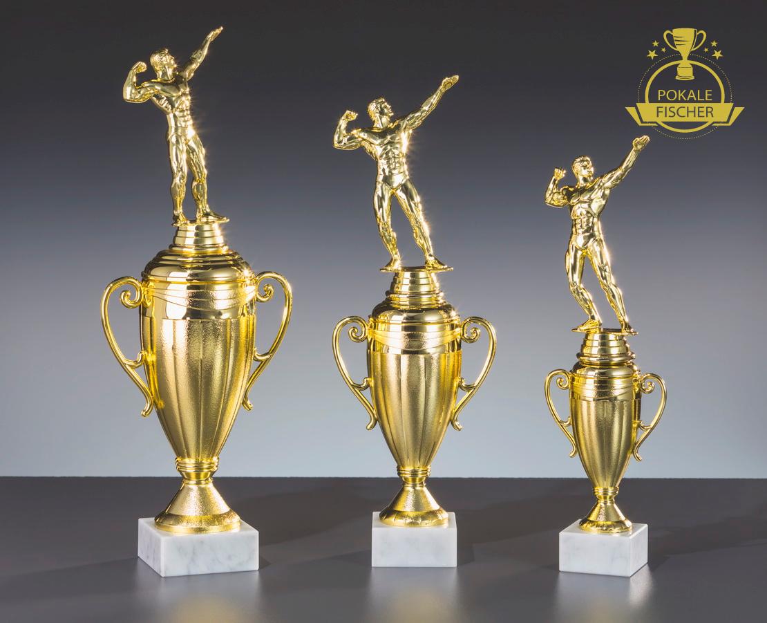 3er Serie Bodybuilding Bodybuilding Bodybuilding Pokale als Komplettserie oder Pokal einzeln 31 cm - 39 cm db7ecd