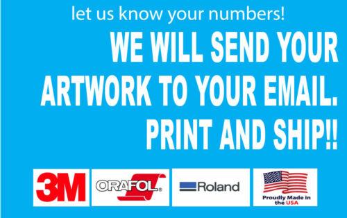 Black Blue Custom Boat Registration Numbers Decals Vinyl Lettering Stickers