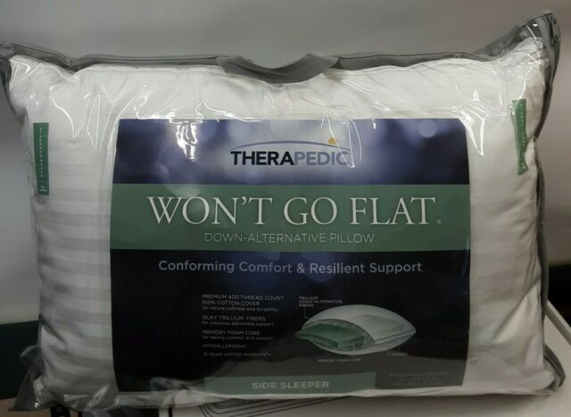 THERAPEDIC Won/'t Go Flat Memory Foam Down ALT Standard//Queen Side Sleeper Pillow