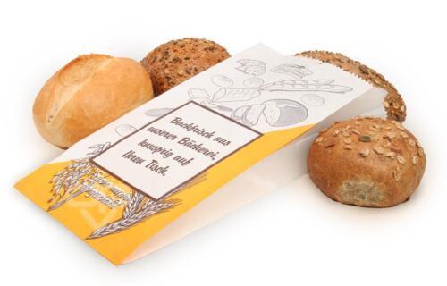 1000 Bäckerfaltenbeutel Neutralmotiv weiß 20+7x36cm 430 Faltenbeutel Papiertüten