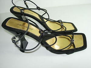 WOMENS-BLACK-JEWEL-STRAPPY-SANDALS-SLINGBACK-HEELS-PUMPS-EVENING-SHOES-SIZE-8-M