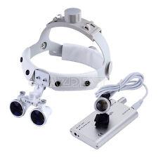 35x R Dental Surgical Headband Binocular Loupes White Led Head Light Silver