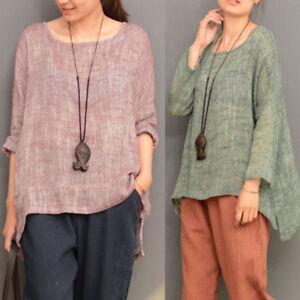 Women-Long-Sleeve-Oversize-Vintage-Casual-Blouse-Tops-Asymmetrical-Shirt-Fashion