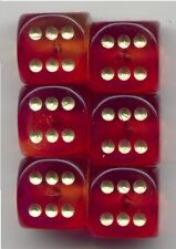 NEW Dice Set of 6 D6 (15mm) - Gem Blitz / Firefly Purple