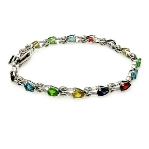 Argent Sterling Multicolore Larme Forme Zircone Pierres Tennis Bracelet