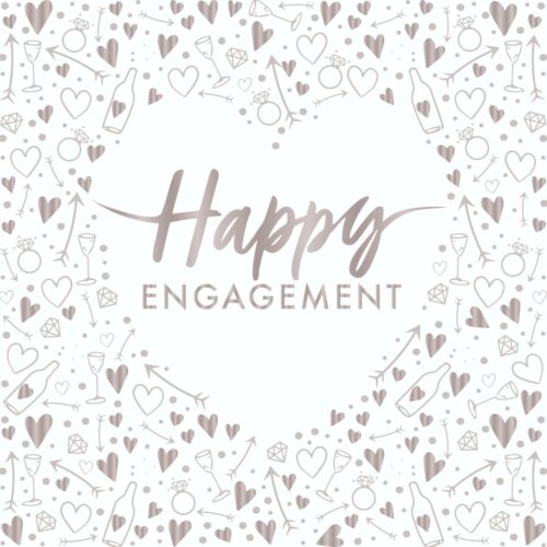 16 x Happy Engagement Napkins 33cm 3ply Pre Wedding Party Tableware Supplies