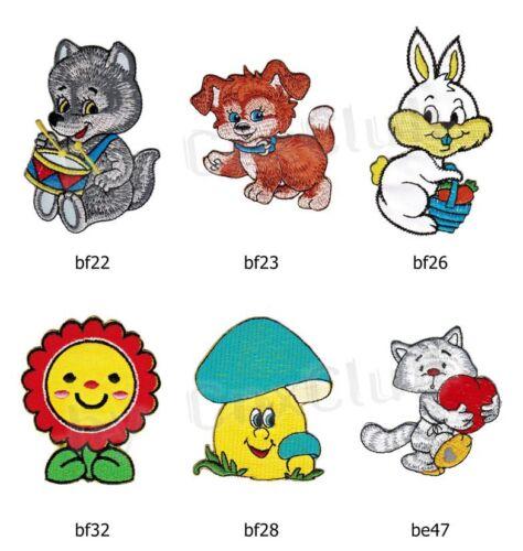 Set #015 niños Patch 6 trozo de perchas imágenes Perro Gato conejo hongo flor Wolf DIY