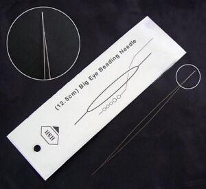 Big-Eye-Beading-Needle-long-10cm-Edelstahl-Naehnadeln-100mm-x-0-3mm-Y10