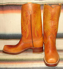 Womens Vintage Texas Brown Leather Indian Cheif Headdress Campus Boots 8.5 N New