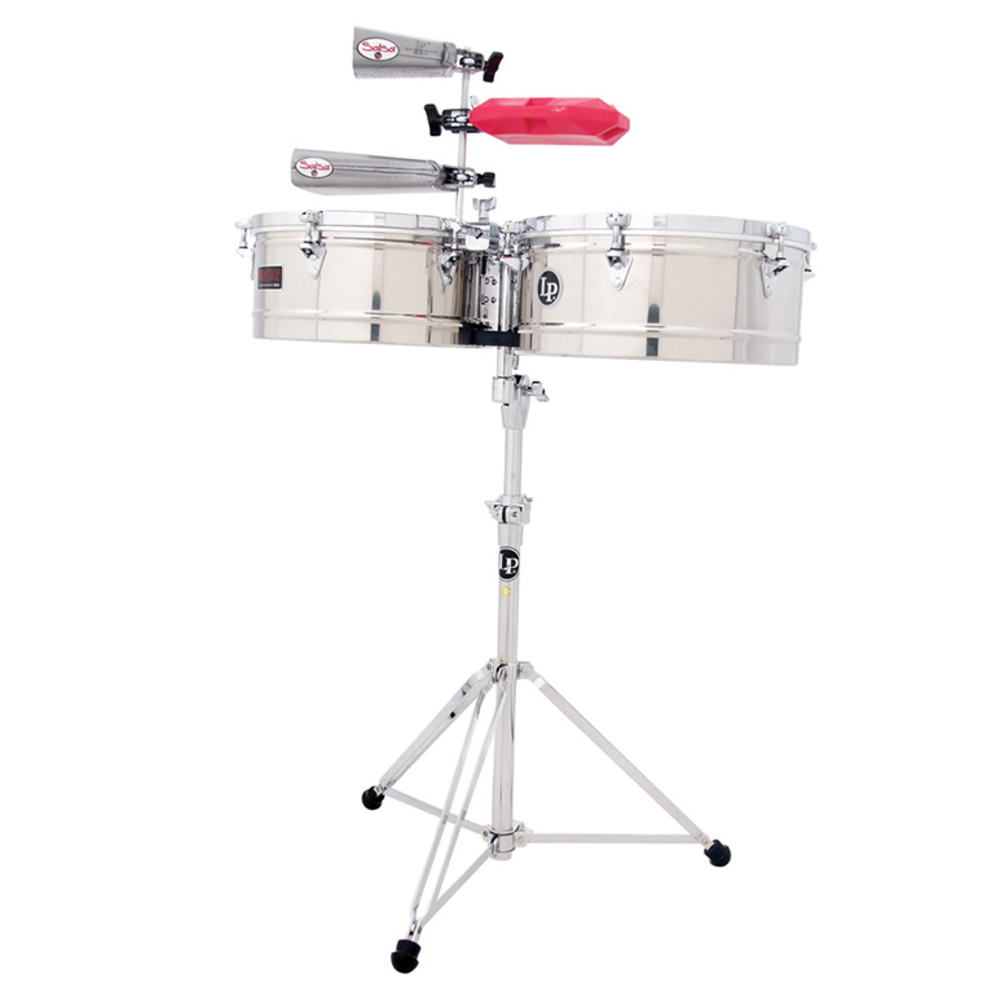 Latin Percussion Timbales Prestige Stainless Steel 13  14  Latin Percussion