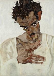 Egon-Schiele-Self-Portrait-with-Lowered-Head-Fine-Art-Print-Poster
