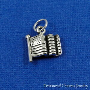 .925 Sterling Silver PASSPORT CHARM NEW United States America Pendant 925 TR21