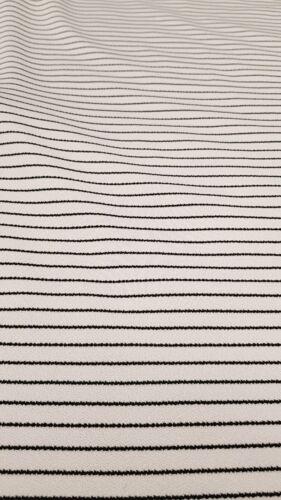 4 Metros Blanco Negro Stripe Crepe Tela
