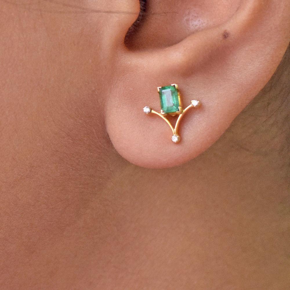 Emerald Gemstone Diamond Pave18K gold Stud Earrings Women's Gift Fine Jewelry