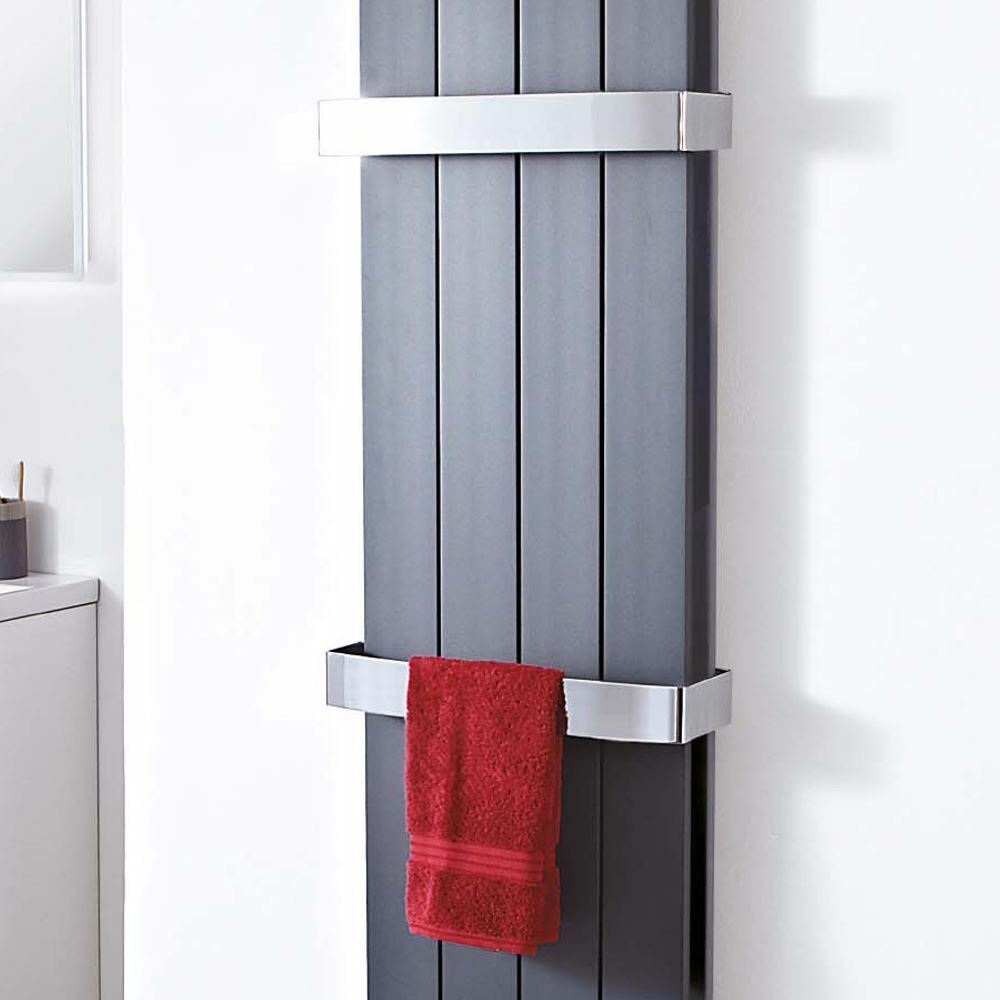 Chrome Towel Bar  Flow, Wave & NewbGoldugh  DOUBLE Aluminium Designer Radiators