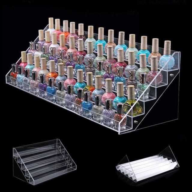 Clear Acrylic 65 Bottles Makeup Nail Polish Organizer Display Stand Holder Tool
