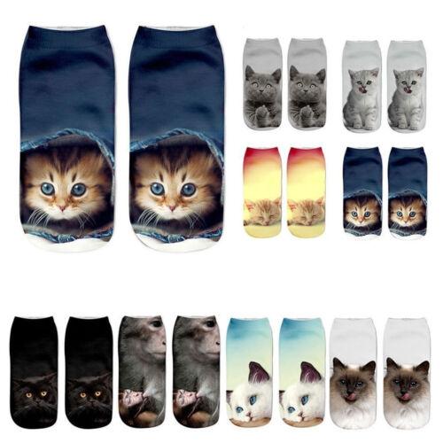 Fashion Women Girls 3D Animal Cartoon Cat Printed Casual Low Cut Anklet Socks