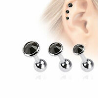 Black Gems 16g Cartilage Body Jewelry Pack Of 3