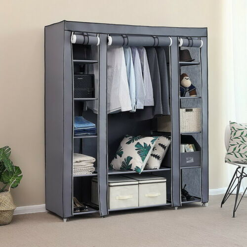 """69/"""" Canvas Fabric Wardrobe Shelving Portable Clothes Storage Cupboard Space Save"""