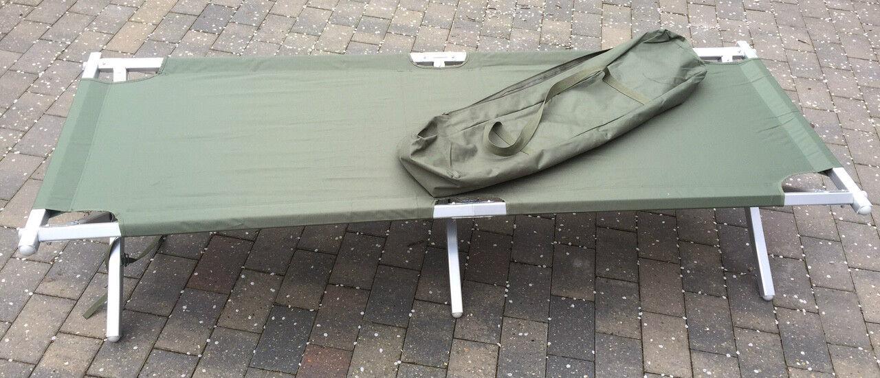 NEW Genuine British Army Heavy Duty Aluminium Frame Folding Camp Bed upto 250kg