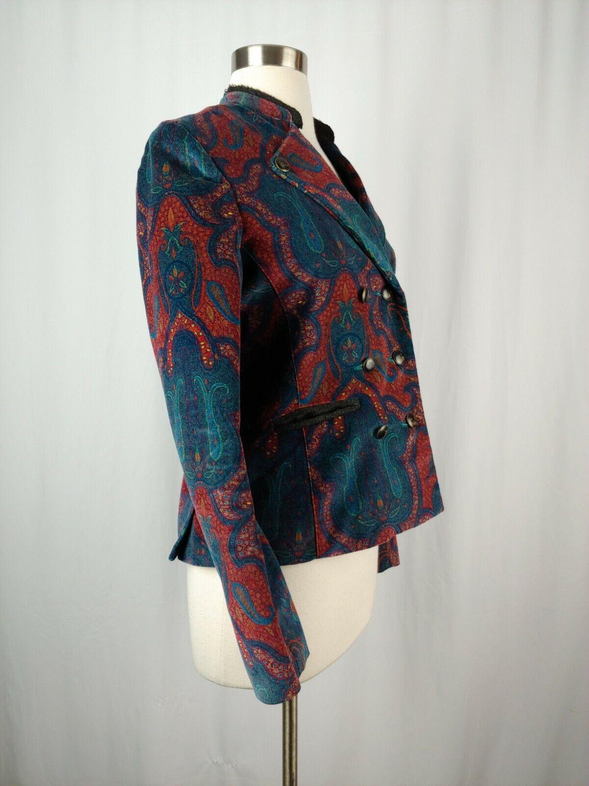 Robert Graham Women's 6 Red Print Velvet Blazer  - image 6