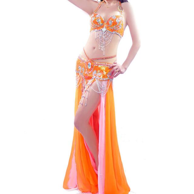 NEU! D002 Bauchtanz Kostüm Fasching Belly Dance Costume BH Gürtel Rock 3Teile