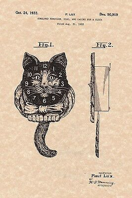 Patent Print Ready To Be Framed! Cat Face Wall Clock by Paul Lux 1933