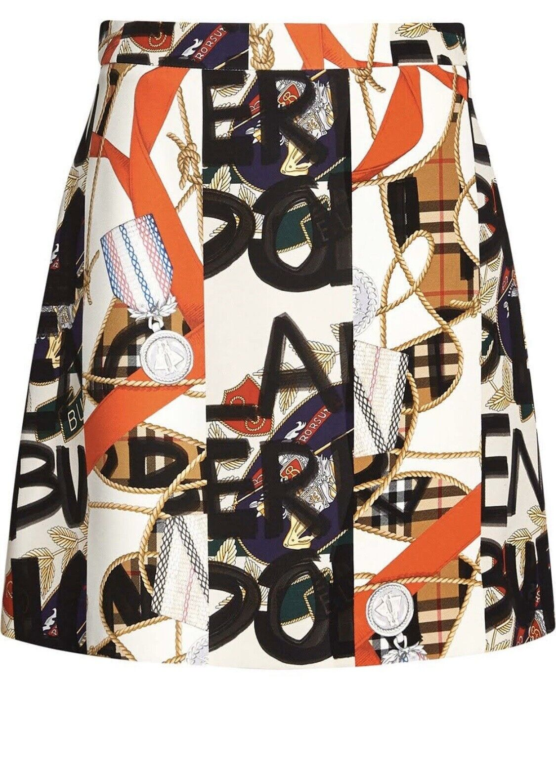 Burberry Mini Skirt with Print Ladies Silk/Wool Size 36 RRP 690