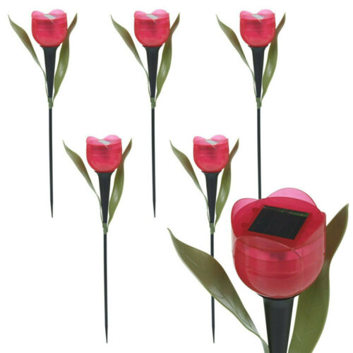 6X Solar Powered LED Tulip Flower Lights Outdoor Garden Yard Path Way Color Lamp